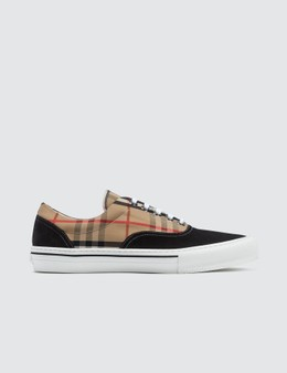 Burberry Vintage Check Cotton and Suede Sneakers Picture