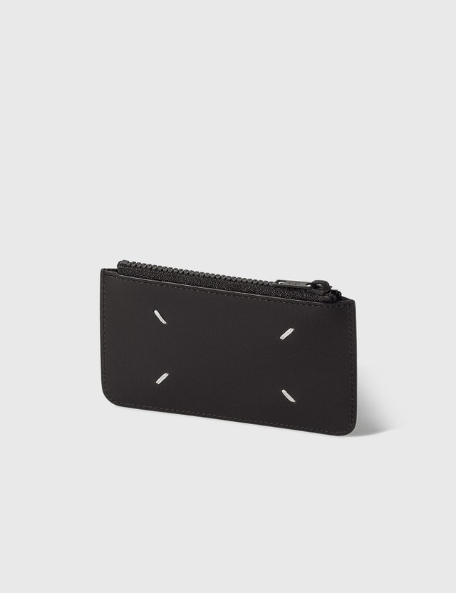 Maison Margiela Smooth Leather Zipped Card Holder Black Men