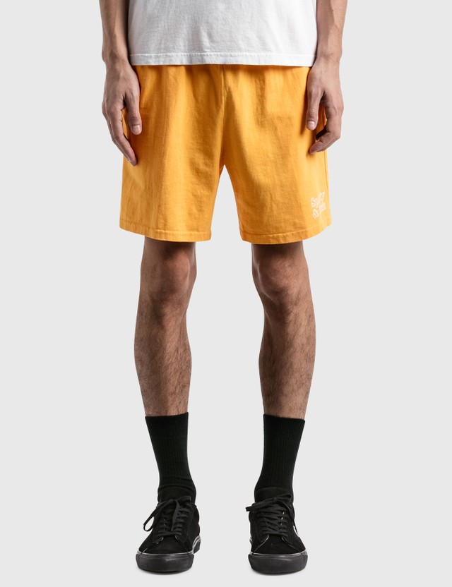 Sporty & Rich Fun Logo Shorts Dandelion/white Print Men