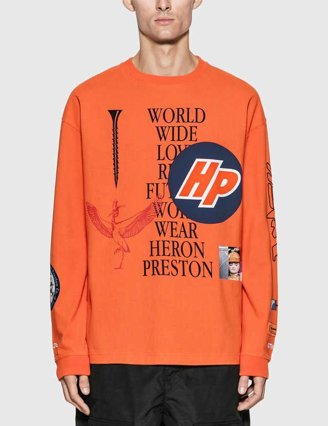 Heron Preston Reg Collage Long Sleeve T-Shirt Orange Men