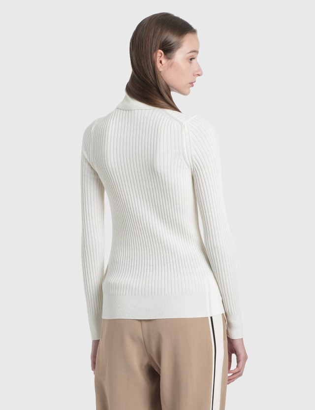 Moncler Jacquard Logo Knit Sweater White Women