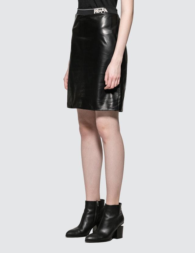 56feb05a7a ... Prada Leather Pencil Skirt with Prada Logo ...