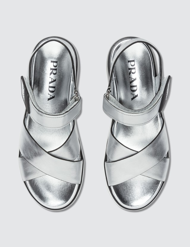 Prada Metallic Cross Straps Sandals