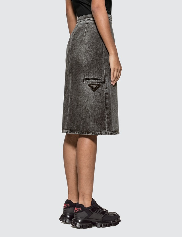 Prada Washed Denim Mid Skirt