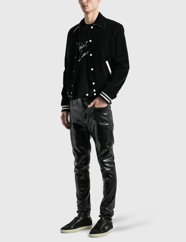 Saint Laurent Saint Laurent Signature T-Shirt Noir/naturel Men