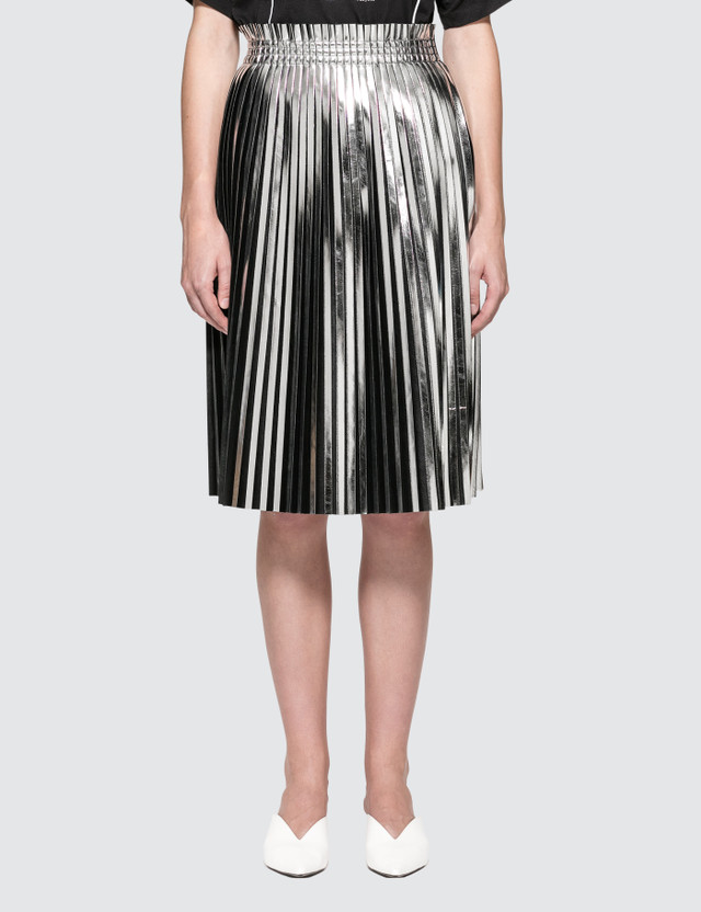 MM6 Maison Margiela Silver Laminated Skirt