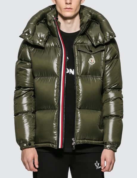몽클레어 Moncler Nylon Down Jacket with Stripe Zip Detail