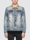 Profound Aesthetic Printed Floral Birds Distressed Denim Jacket with Corduroy Collar Picutre