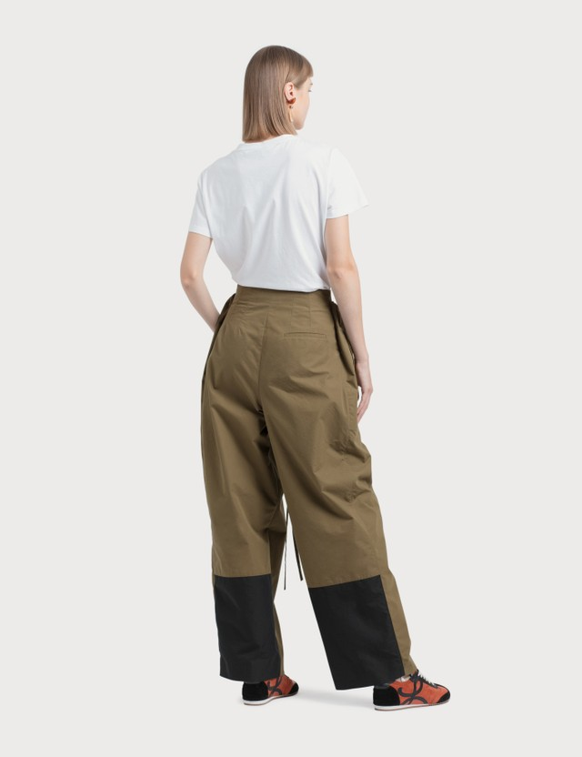 Loewe Double Waistband Trousers Khaki Green Women
