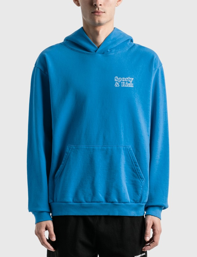 Sporty & Rich Fun Logo Hoodie Ocean Blue/white Print Men