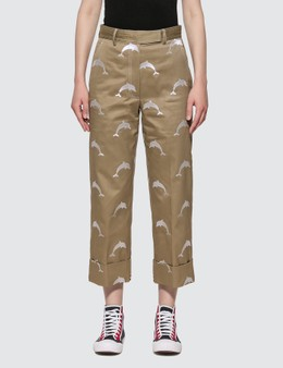 Thom Browne Twill Dolphin Embroidered Chino Trousers