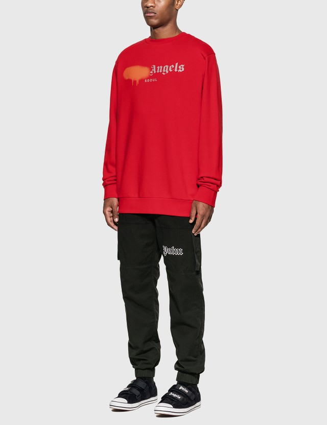 Palm Angels Seoul Sprayed Logo Sweatshirt Red Men
