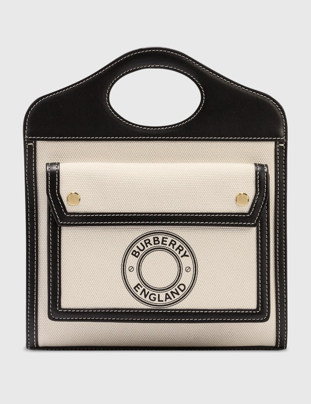 Burberry Mini Logo Graphic Canvas and Leather Pocket Bag Black Women