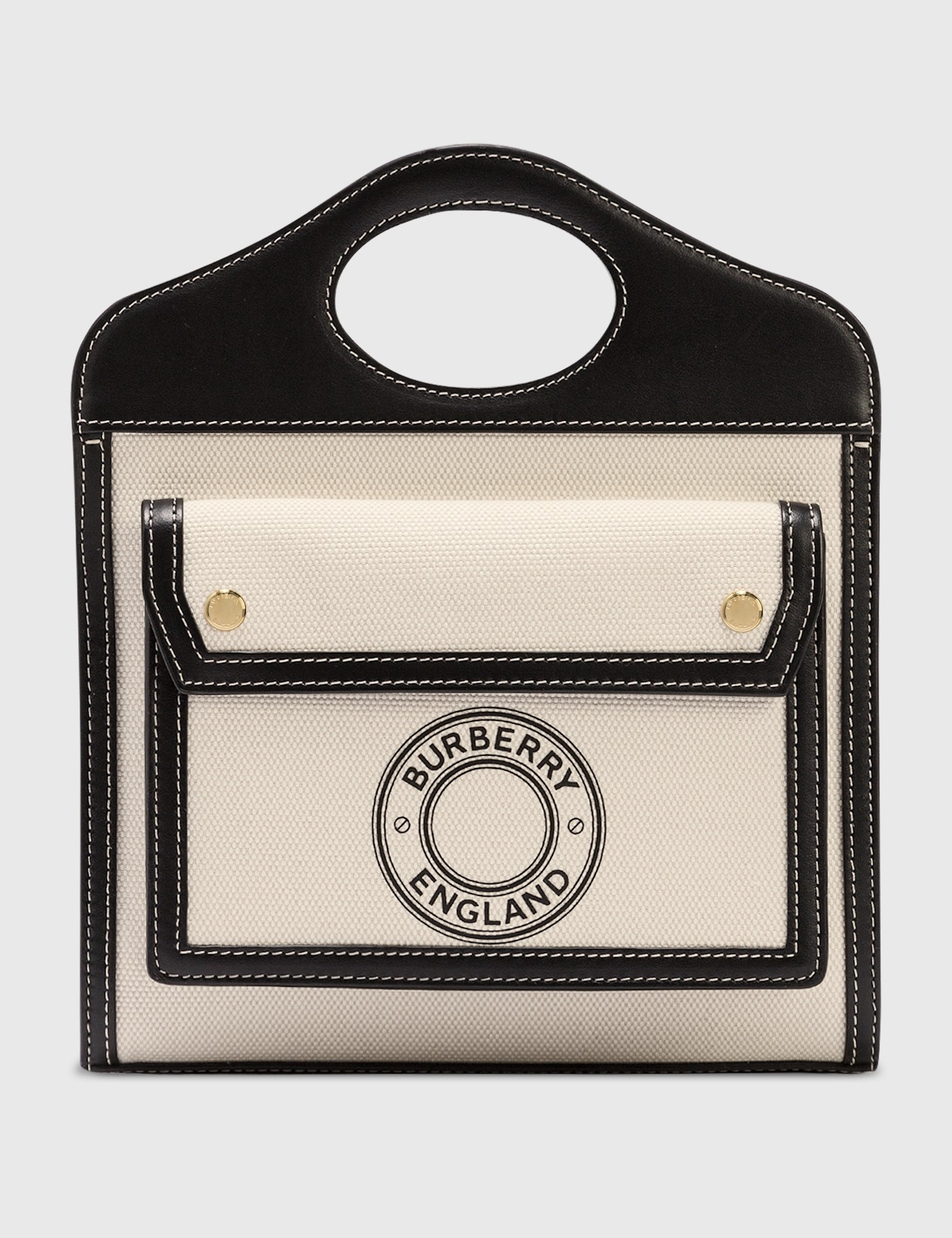 Burberry Mini Logo Graphic Canvas And Leather Pocket Bag In Black