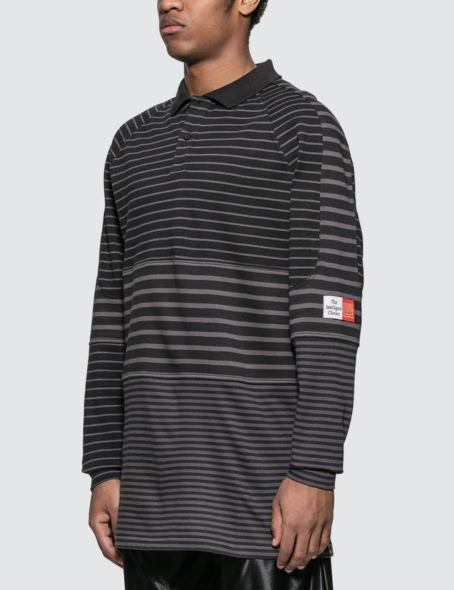 Martine Rose Paneled Polo Shirt Grey Stripe Men