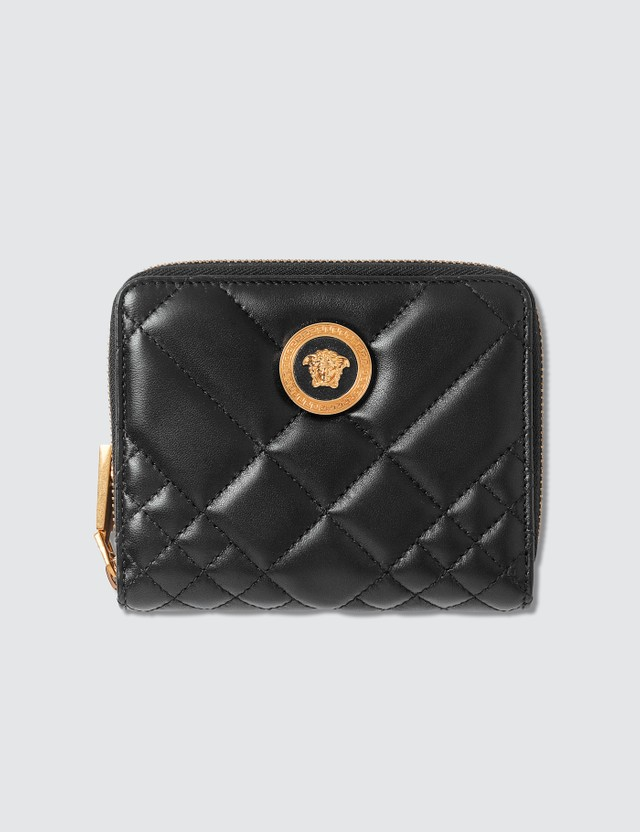 Versace Quilted Medusa Zip Around Wallet