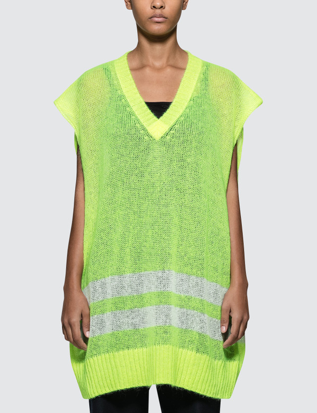 Maison Margiela Oversized Sleeveless Knit Pullover Yellow Women