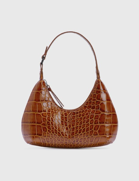 By Far Baby Amber Tan Croco Embossed Leather