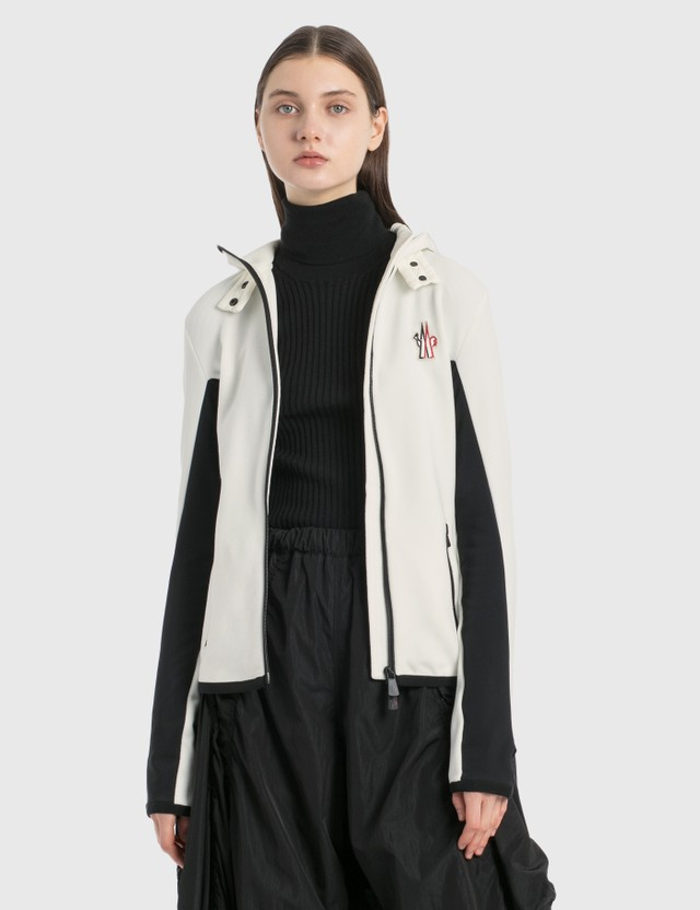 Moncler Zip Fitted Fleece Jacket White Women