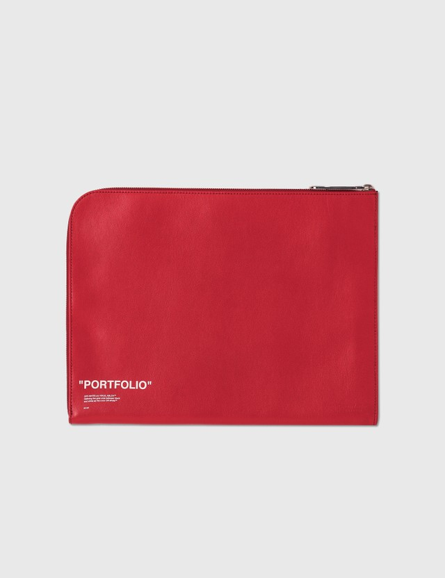 Off-White Offwhite Portfolio Leather Clutch Red Archives