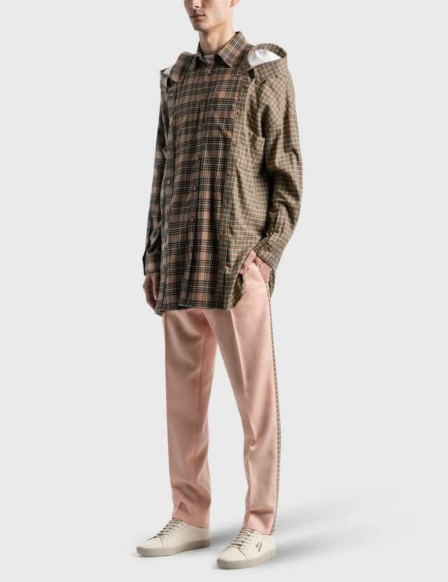 Burberry Contrast Check Cotton Flannel Reconstructed Shirt Camel Check Men