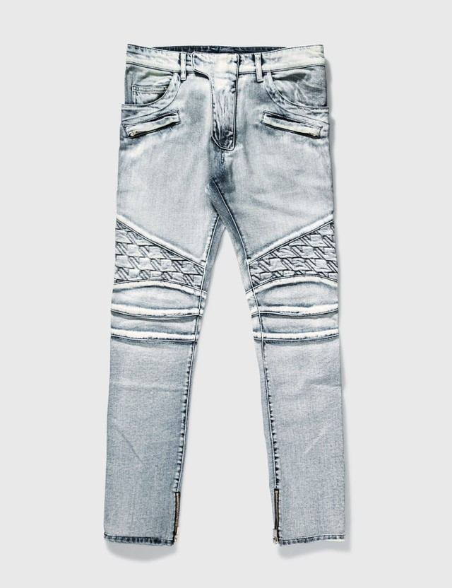 Balmain Balmain Washed Biker Jeans Light Blue Archives