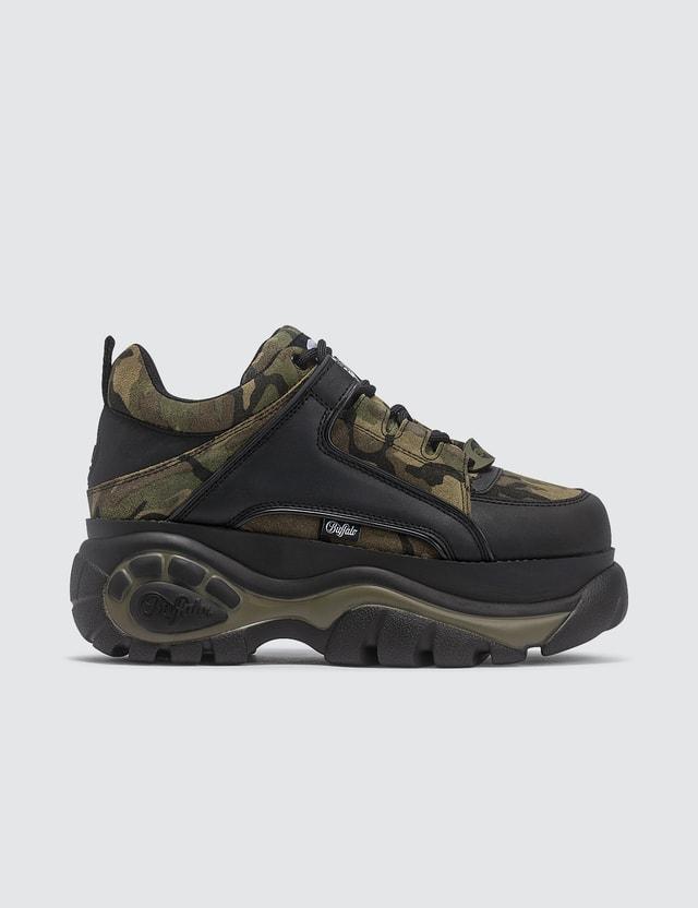 Buffalo London Camo Leather Low Top Platform Sneakers