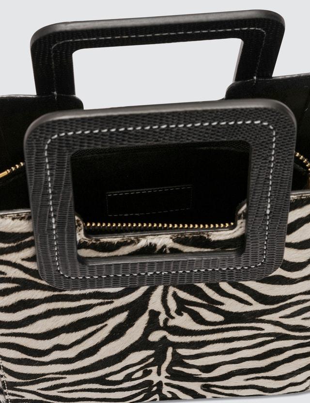 Staud Mini Leather Shirley Zebra Bag