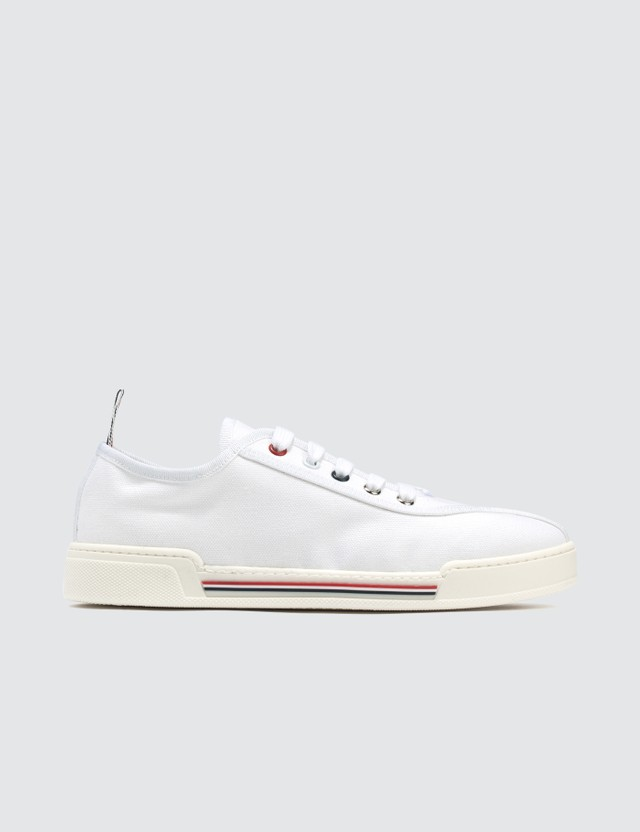 Thom Browne Trainer With Rubber Cupsole & 4 Bar Paper Label In Canvas