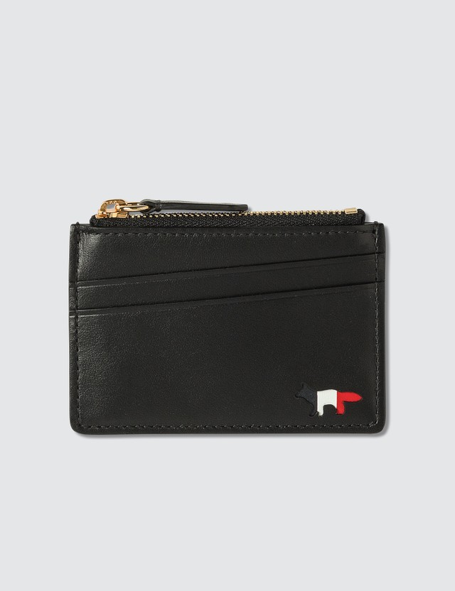 Maison Kitsune Tricolor Fox Zipped Leather Card Holder