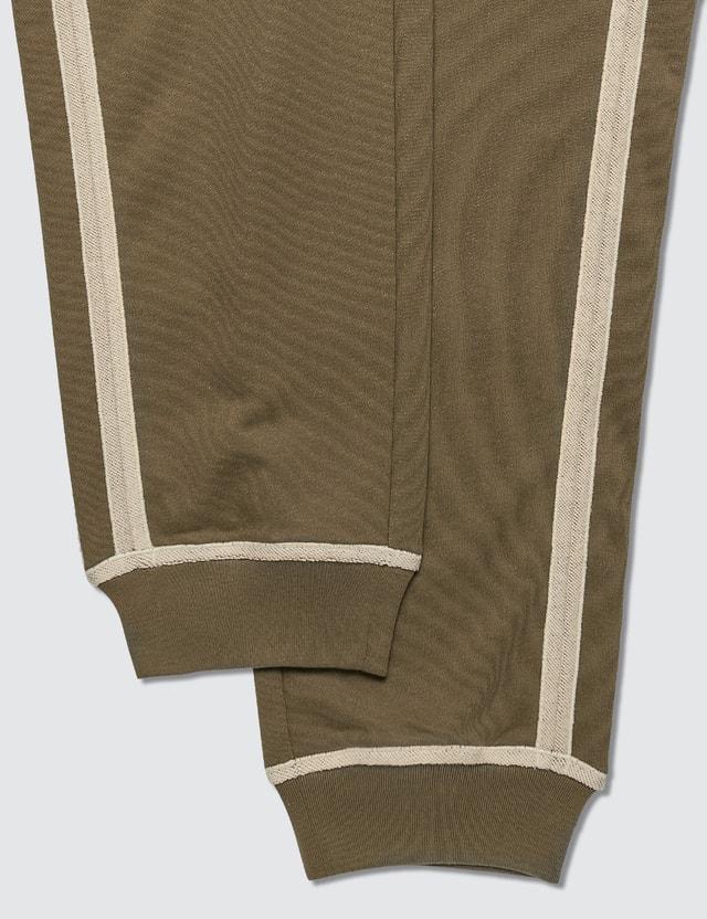 Loewe Anagram Embroidered Track Trousers Khaki Green/ivory Men