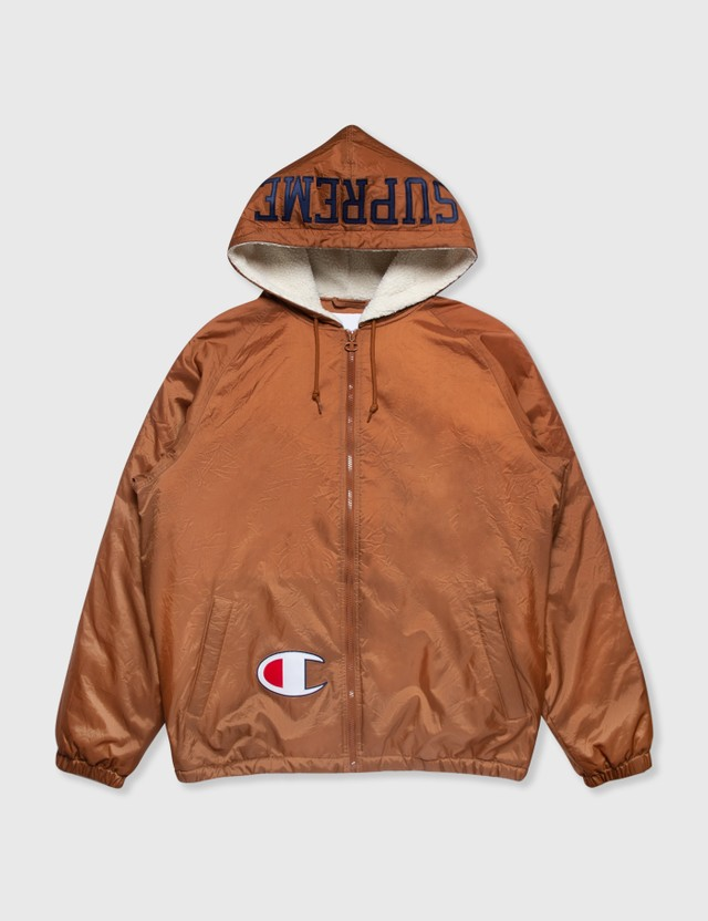 Supreme Supreme x Champion Hooded Jacket Brown Archives