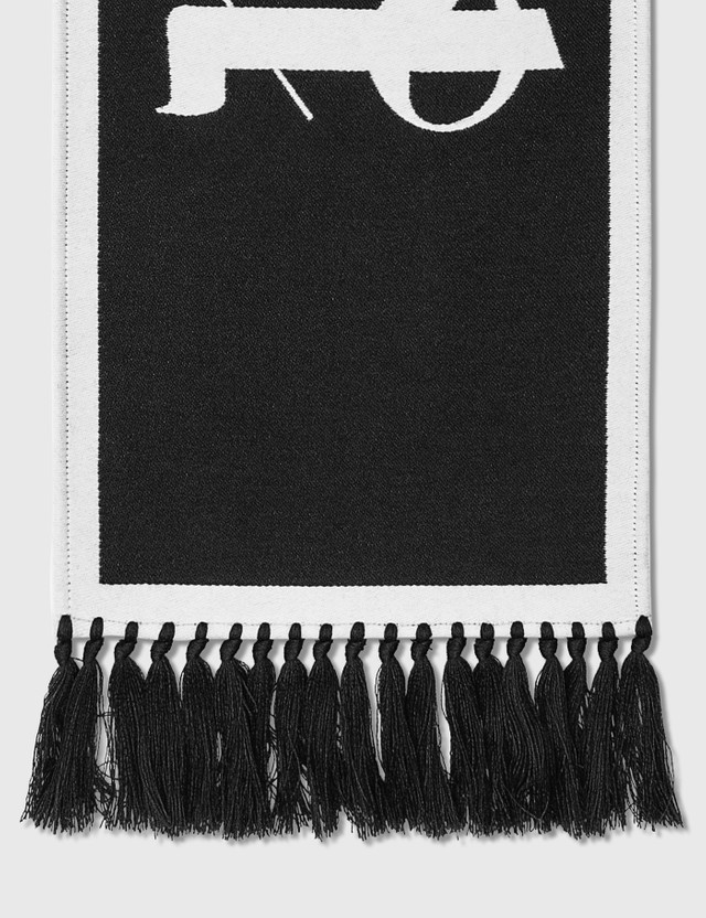 Palm Angels Logo Scarf Black White Women