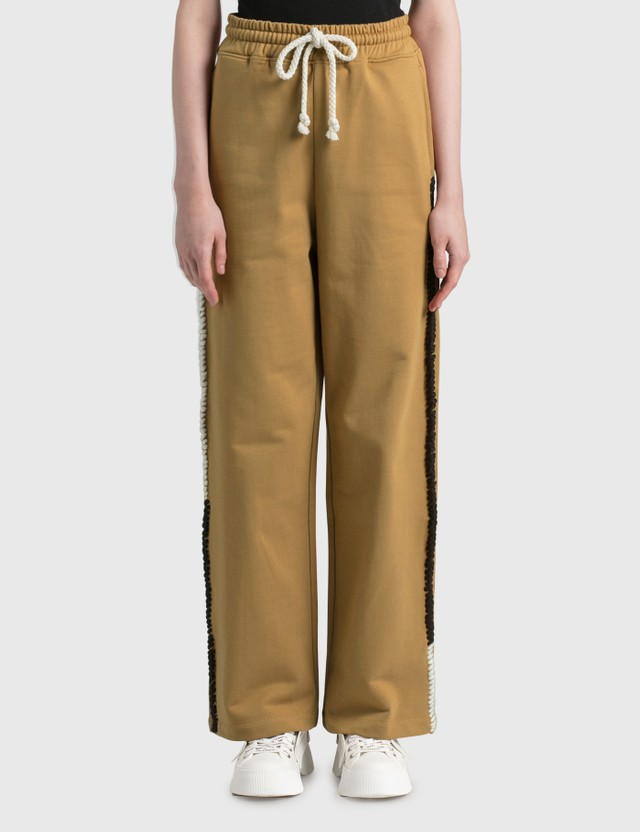JW Anderson Wide Leg Contrast Stitch Track Pants Tobacco Women