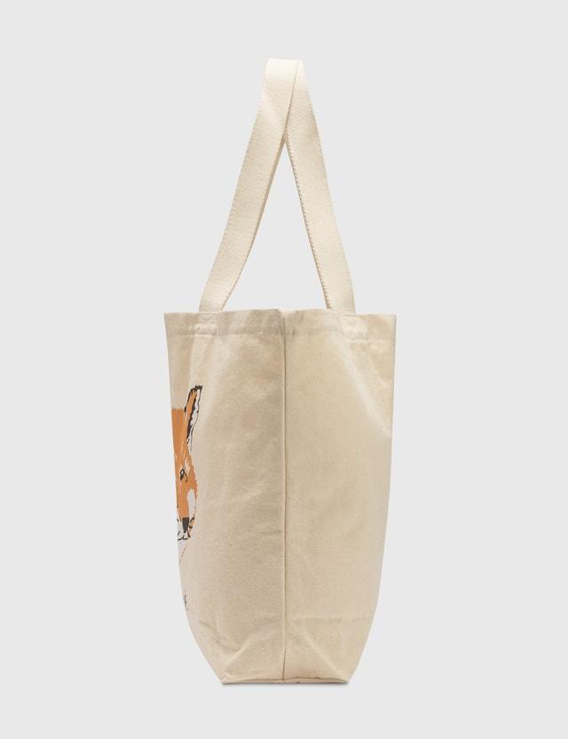 Maison Kitsune Fox Head Tote Bag Ecru Women
