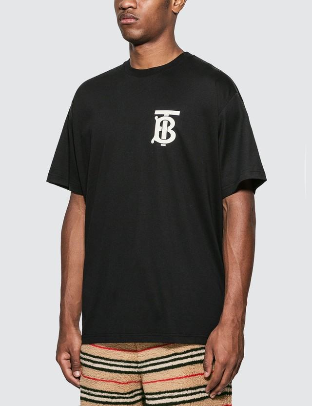 Burberry Monogram Motif Cotton Oversized T-shirt Black Men