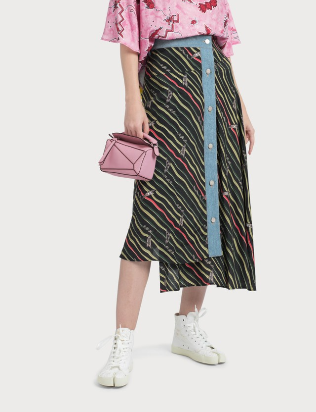 Loewe Paula Skirt With Denim Flags Black/multicolor Women