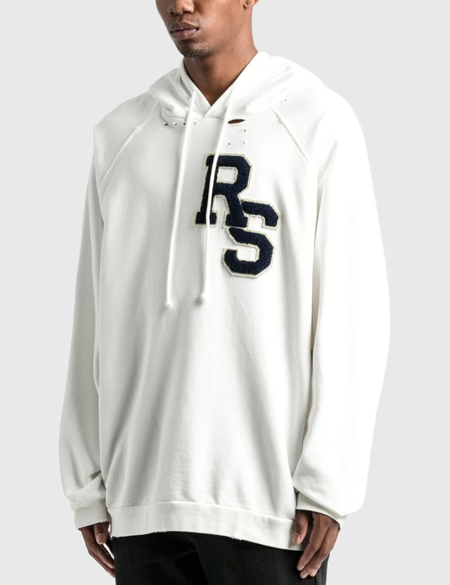 Raf Simons RS Badge And Print Oversized Hoodie Ecru Men