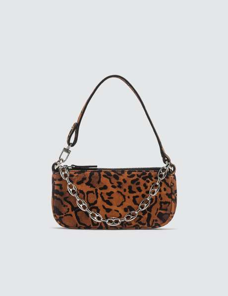 바이파 레이첼백 미니 - 레오파드 BY FAR Mini Rachel Leopard Print Suede Leather Bag