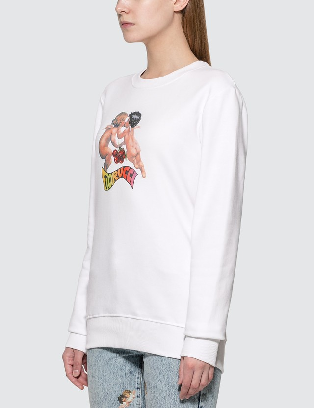 Fiorucci Cherub With Cherries Sweatshirt White Women