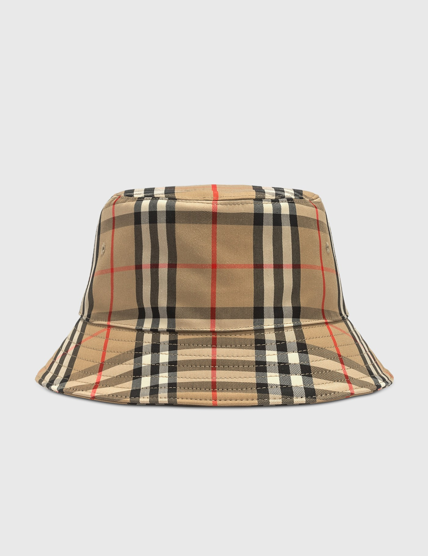Vintage Check Cotton Blend Bucket Hat