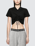 Alexander Wang.T High Twist Jersey Ruched V-neck Tee With Ties Picture