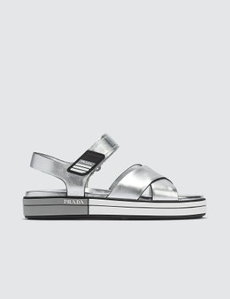 Prada Metallic Cross Straps Sandals Picture