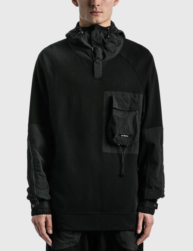 Tobias Birk Nielsen Mixed Fabric Box Chest Pocket Hoodie Black Rd Men