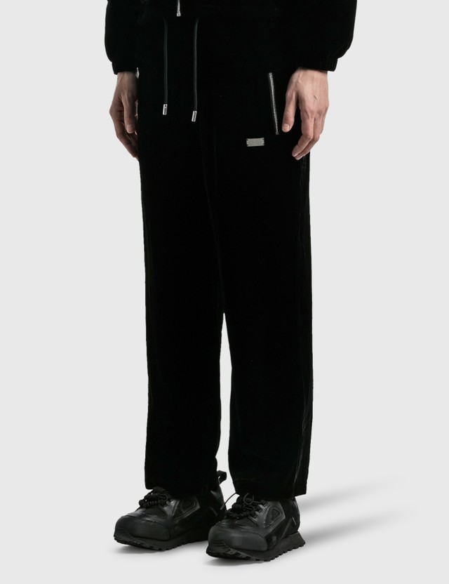 Team Wang Drawstring Velvet Straight Pants Black Men
