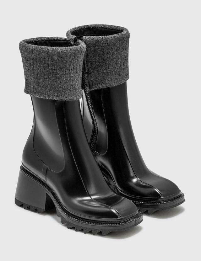 Chloé Betty Rain Boots With Knit Black Women
