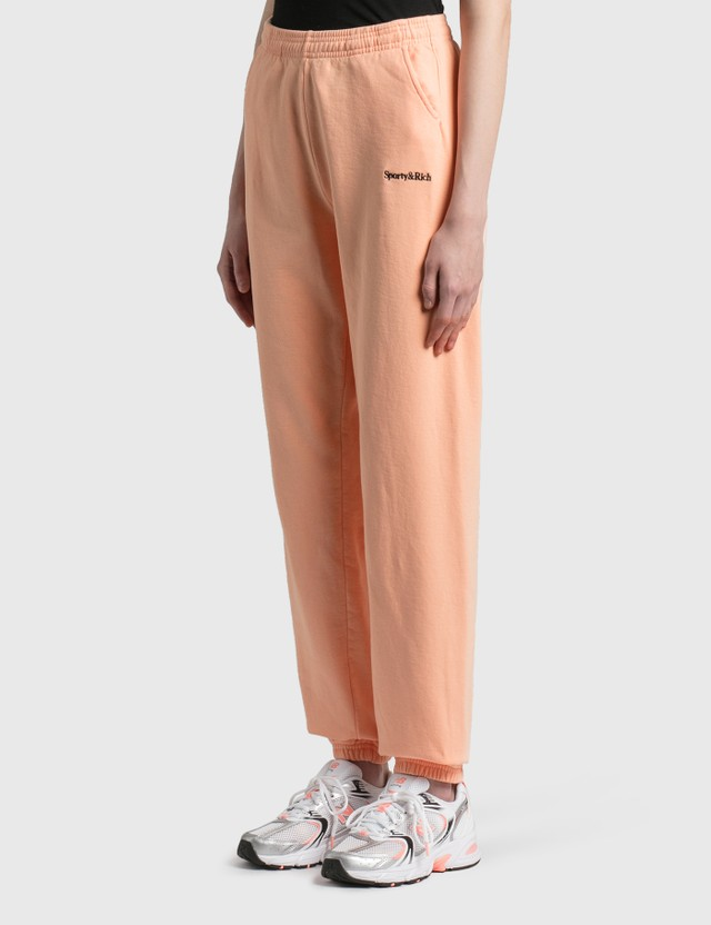 Sporty & Rich Serif Logo Sweat Pants Peach Pie/black Women