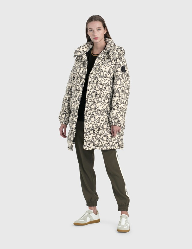 Moncler All Over Printed Hooded Jacket White Women