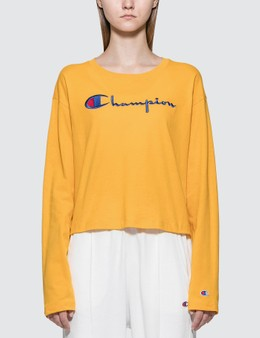 Champion Reverse Weave Big Script Long Sleeve Cropped T-shirt