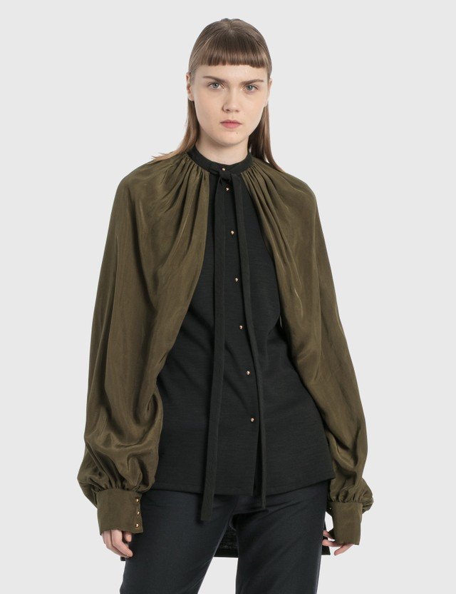 Loewe Cape Sleeve Blouse Black/khaki Green Women